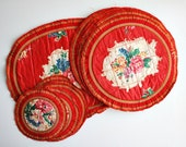 Vintage Table Serving Mats, Plate and Glass Floral Mats
