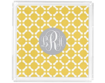 """Personalized Square Lucite Tray - Monogram Vanity / Perfume Tray - 8"""" x 8"""" - Hostess Gift - Decorative Tray - Chic Dots"""