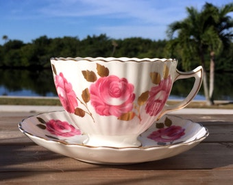 Radfords Bone China Teacup Tea Cup and Saucer - Ribbed with Pink Roses 13855