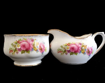 "Cream Sugar Set from Royal Albert, ""Chatsworth"" Creamer and Sugar, English Bone China,  13864"