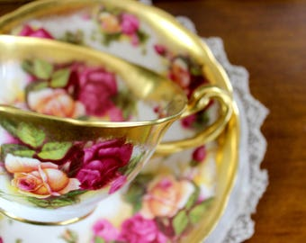 Royal Chelsea, Golden Rose, Bone China Teacup, Vintage Tea Cup and Saucer 13207