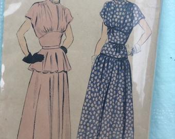 Vintage Advance Formal Peplum Dropped Waist Dress Sewing Pattern 32 Inch Bust