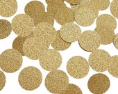 "50 Glitter Gold Confetti Circles, 1"" Glitter Gold Confetti Circles, Gold Coins, Party Decorations - No497"