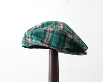 Pendleton flat cap, vintage plaid newsboy cabbie hat