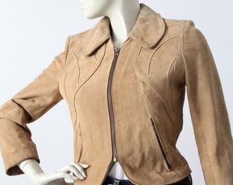 1970s vintage suede jacket, East West style parrot leather jacket