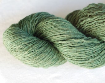 Extra Fine Merino Wool Recycled Yarn, Moss Green, Olive Green, Worsted Weight, 195 yards