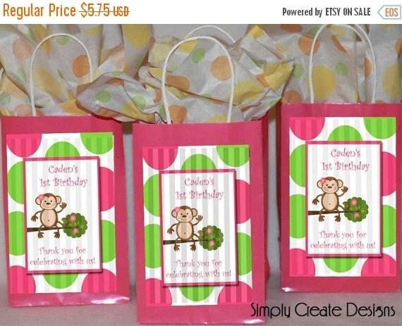 SALE Mod Monkey Party Favor Tag Baby Shower Girl DIGITAL FILE 4x6 Jpeg Digital File Personalized