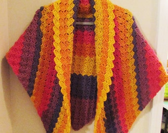Triangle Shaped Ladies Shawl Multicolor Autumn Colors Striped