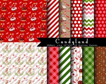 Candyland Christmas Digital Scrapbook Papers - Gingerbread House- Candy Cane