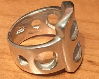 MODERNIST STERLING SILVER Circles Ring Size 6 3/4 Large 11.2 Grams