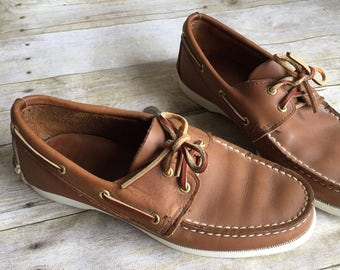 Vintage Leather Boat Shoes - Port Sail for Mervyns - Size 7.5 8