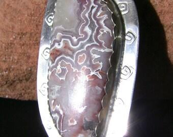 Bolo Tie: Mexican Laguna Lace Agate