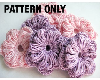 Crochet Flower Pattern - Two Layer with Puffy Petals - Instant Download