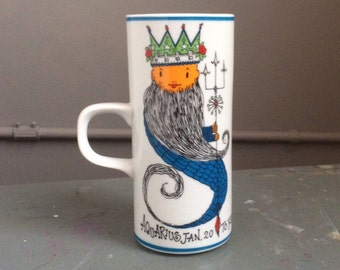 Vintage Aquarius Royal Crown Arnart Your Zodiac by Kitty Tall Mug #3568