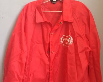 Vintage Kitsch Miller High Life Beer Red Jacket Windbreaker Size Large