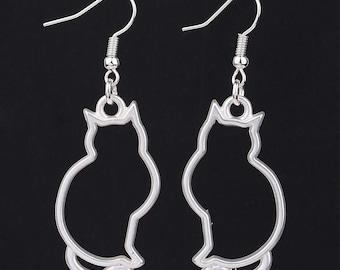 Cat Sillohette Silver Earrings