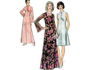 "UNCUT 70s Maxi Dress Sewing Pattern Day Dress with Mandarin Collar Vintage Size 14.5 Bust 35"" (89 cm) - Style 4332 G"
