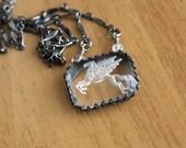 Pegasus Necklace - Vintage Reverse Carved Glass Rustic Pendant