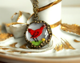 Guarding Her Eggs - Cute Dainty Vintage Reverse Painted Glass Chicken Intaglio Necklace