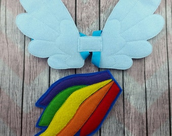 Rainbow Pegasus felt tail and wings, children's dress up, rainbow dash pony inspired, little pony inspired