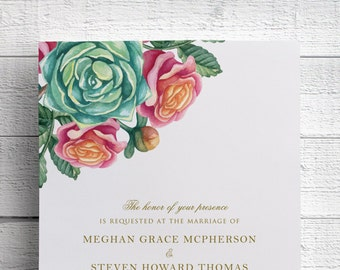Floral Succulent Wedding Invitation, Watercolor Succulent, Succulent Invite, Succulent Bouquet, Desert Wedding, Green and Pink, SAMPLE