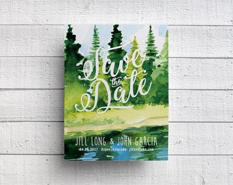 Trees Wedding Save The Date, Mountain Wedding Save The Date, Forest Wedding Save The Date, Nature Wedding Save The Date, Postcard