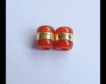 Hot Sale Precious Red Agate Gemstone Beads With Gold Decoration Earring Bead,12x10mm,3.1g