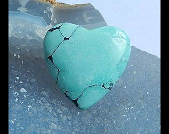 New,Turquoise Heart Gemstone Cabochon,28x29x5mm,6.3g