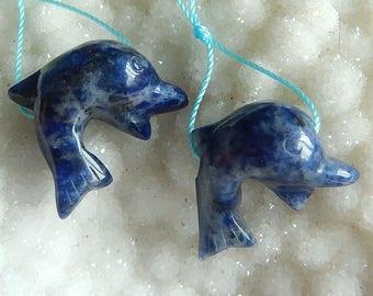 2PCS Carved Lapis Lazuli whale Gemstone Pendant Bead,55X25X36mm,30.4g