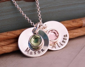 Hand Stamped Mommy Necklace- Personalized Jewelry - Sterling Silver Necklace - Domed Name Tag Duet with Birthstones (two cups with dates)