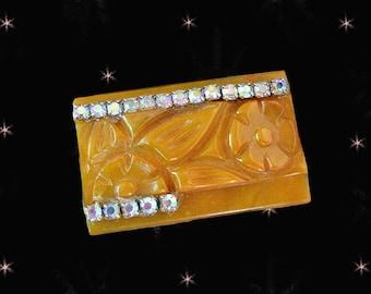 OOAK Carved Fakelite not Bakelite Brooch with Aurora Rhinestones - Retro Pin Made with Vintage