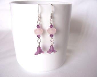 pink earrings, rose quartz earrings, Swarovski crystal earrings, purple flowers, spring fashion trends,boho, great gift idea