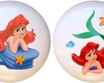 Set of 2 Ariel The Little Mermaid Ceramic Drawer Pulls Cabinet Knobs