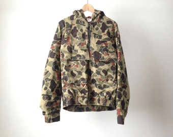 camouflage MILITARY faded vintage 80s CAMO HOODIE parka winter coat