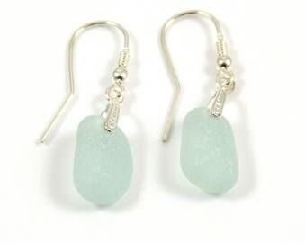 Sea Glass Earrings - Sterling Silver Earrings - Seafoam Blue Earrings - Blue Sea Glass - Glass Earrings - Wedding Earrings - e47
