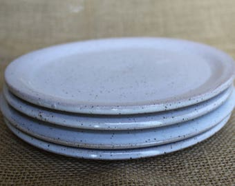 Rustic white speckled pottery dessert plates set of 4, stoneware, wheel thrown, tapas plates