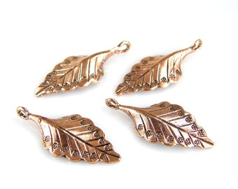 Copper Leaf Charms, Copper Leaf Pendants, Copper Leaf Beads, (4) Copper P0012