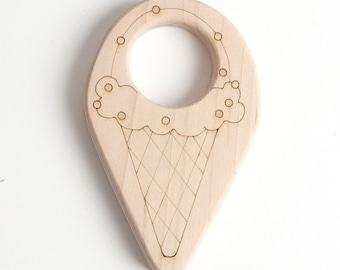 Ice Cream Cone Teether // An Eco-Friendly Safe Baby Toy & Teether // Natural Wood Teether Makes the Perfect Personalized Baby Shower Gift
