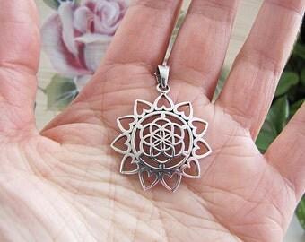 Flower of Life Sterling Silver Pendant, Spiritual Pendant