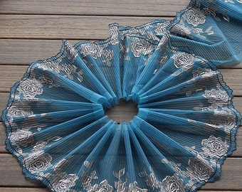 2 Yards Lace Trim Flower Floral Embroidered Scalloped Lakeblue Tulle Lace 7.87 Inches Wide High Quality