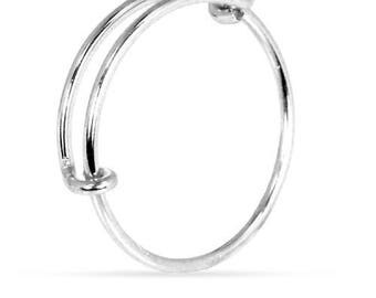 Finger Rings, Adjustable Ring, Size 8-10, Sterling Silver, 1 mm - 1 Pc Wholesale Price (11646)/1