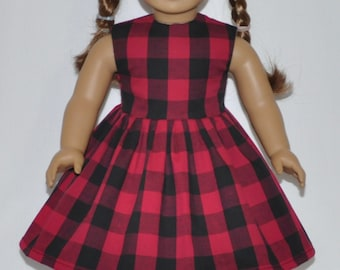 Red and Black Plaid Country Style Doll Dress Made To Fit American Girl