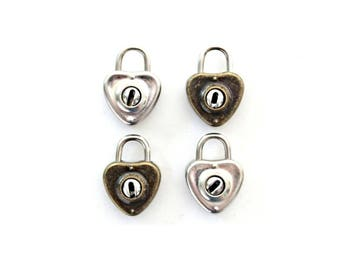 1 Small Heart Padlock and Key - heart lock and key . vintage diary lock . bronze lock . heart charm . lock charm . silver wedding decor