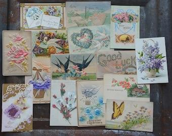 Floral Postcards, Vintage Flower Cards, Set of 15 Vintage Postcards, Craft Supply Cards, Great for Scrapbooking, Vintage Cards With Flowers