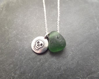 Sugar Skull Necklace with Green Scottish Sea Glass, Beach Glass, Jewelry from Scotland, Gift for Her