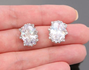 Silver Sterling Silver Post Drop Crystal earring post Findings, Earring Base Post setting, 2 pc, E514956