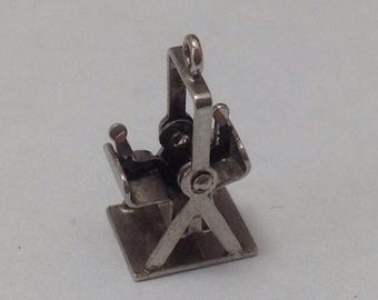 Vintage Mecanical Swing Set Sterling Silver Charm FREE SHIPPING