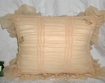 Silk Boudoir Pillow From 30s/40s in Silk Chiffon and Silk Dupioni Back - 11 x 14