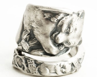 Teddy Bear Rings, Spoon Ring Sterling Silver, Mama Bear Baby Bear Cub Papa Bear, Woodland Animal Ring Adjustable Ring, Bear Lovers Gift 6410