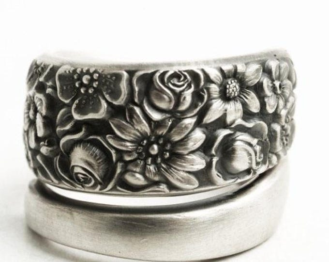 Vintage Towle Rose Garden Pattern 1965 Contessina, Sterling Silver Spoon Ring, Wild Flower Ring, 5th Anniversary Gift, Custom Ring Size 6508